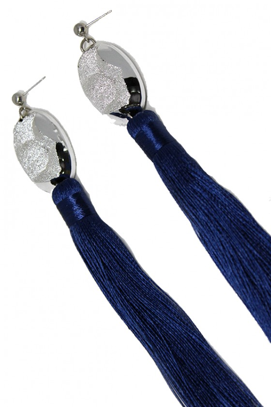 Handmade long tassels Blue Earrings