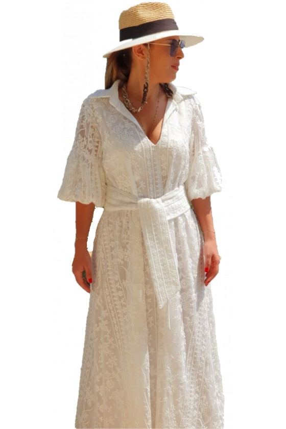 Broderie Off White Long Dress
