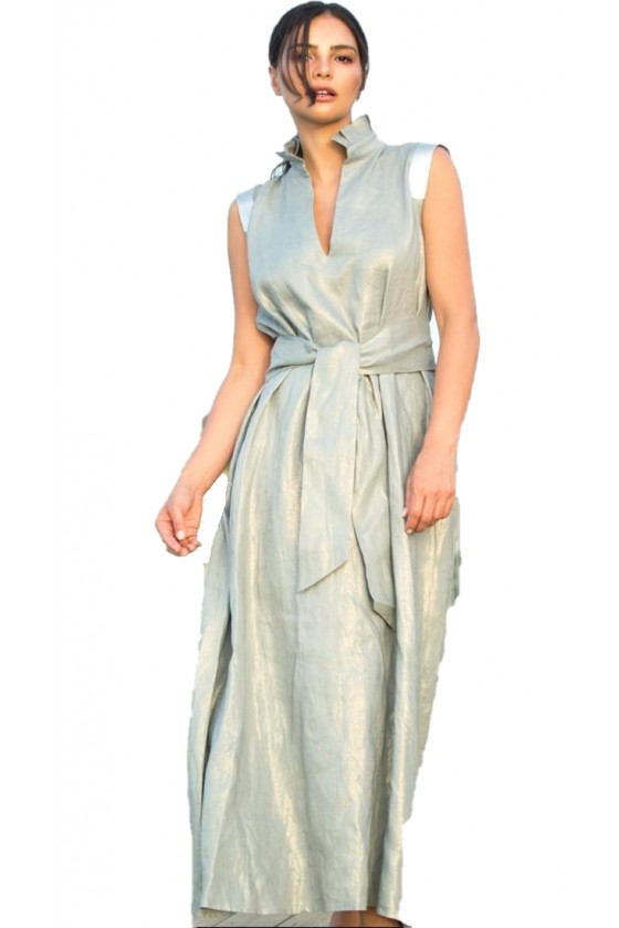 Grey Linen Dress with...