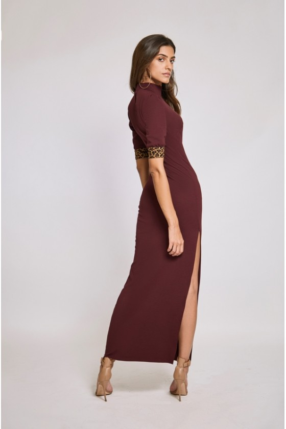 Bordeaux Short Sleeve Jersey Dress