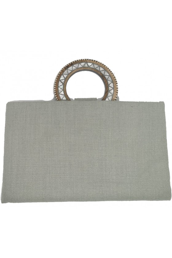 Clutch Fabric with Handle Wood