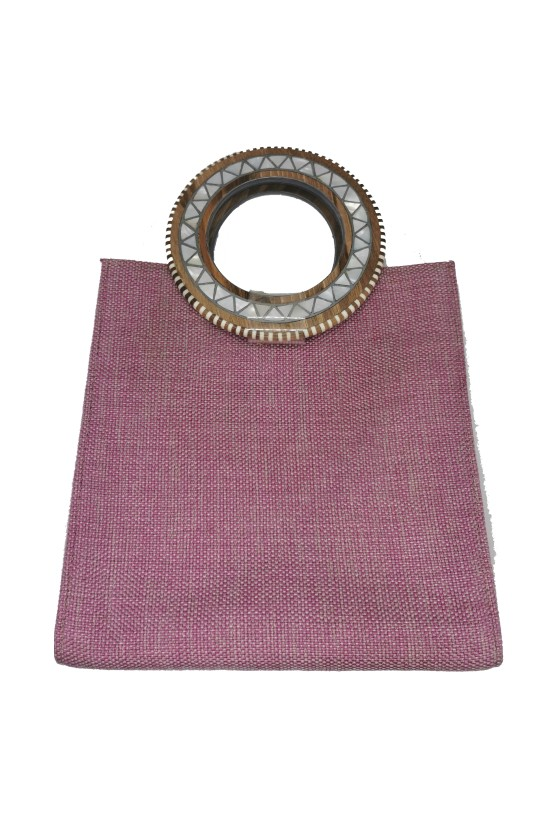 Bag Square Fabric with 2 Handles Wood