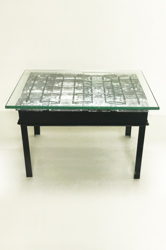 Low table with old music tape