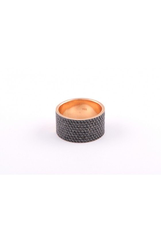 Ring 18k pink gold. Black...
