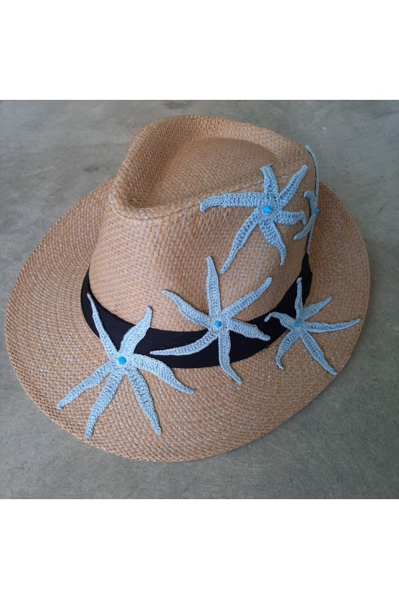 Hat with Knitted Blue Stars