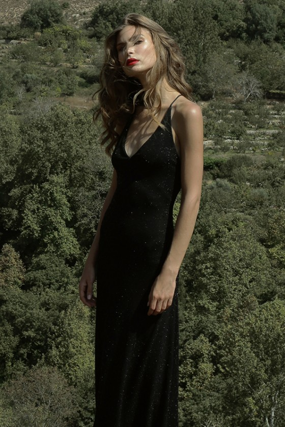 Black sequence shinny open back dress