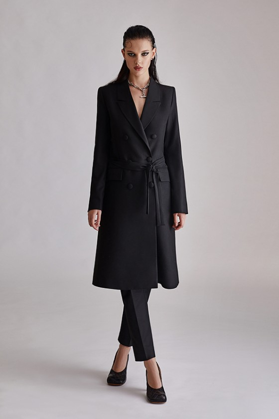 Black double breatsed top coat suit