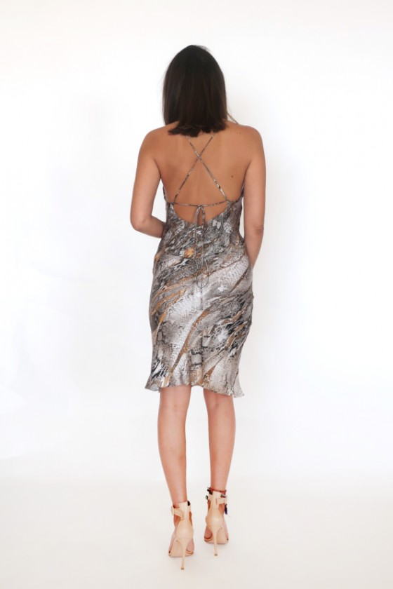 Satin snake print short dress