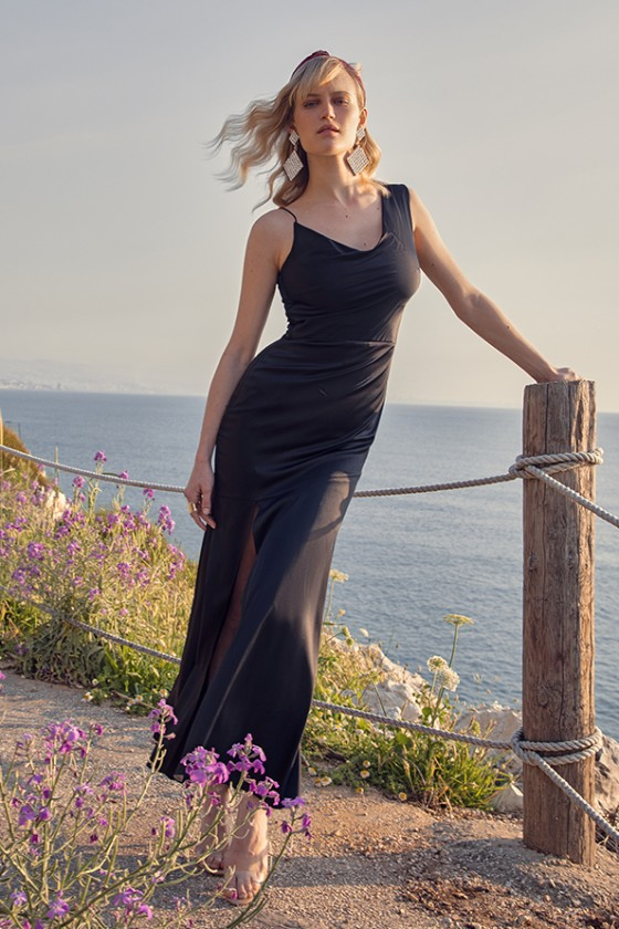 Asymmetric black long pure silk dress