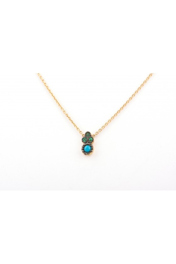 Pendant 18k gold with Emerald & Turquoise