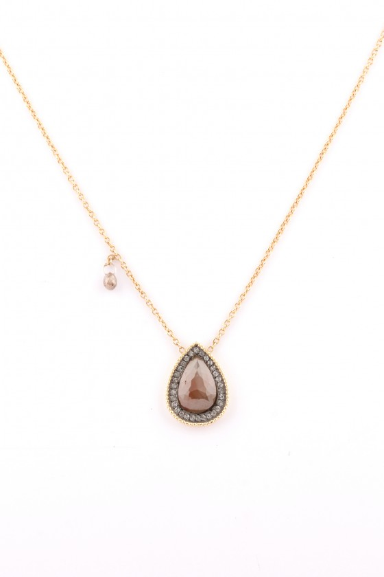 Pendant 18k gold with Brown...