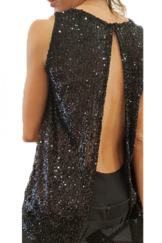 Sequin - Open Back Black Top