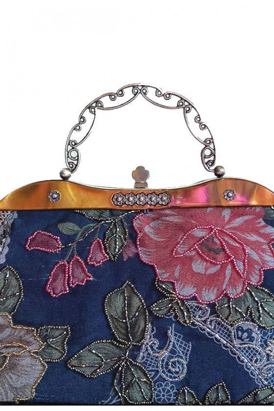 1970's Denim Floral Handbag