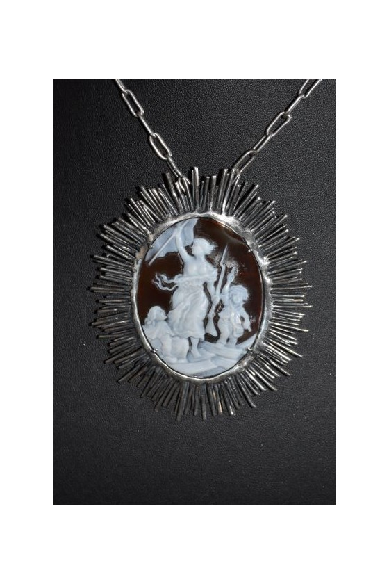 Sardonic crafted and silver mounted cameo