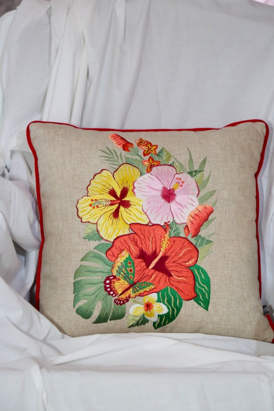 Hibiscus orange embroidery...