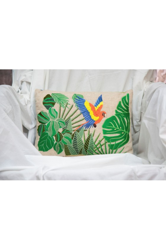Leaves and birdy on linen