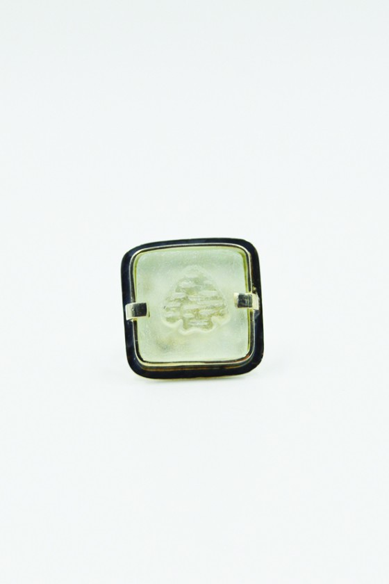 Square Cedar Graved Ring