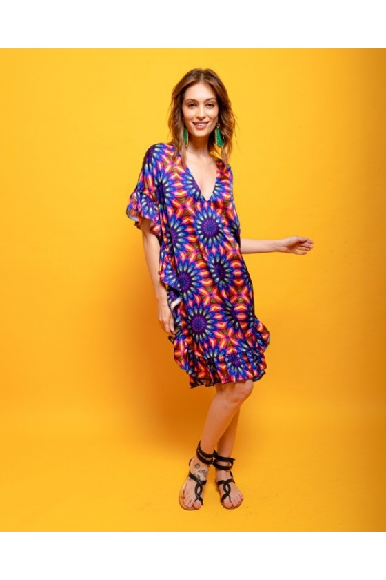 Short ruffled satin kaftan dress