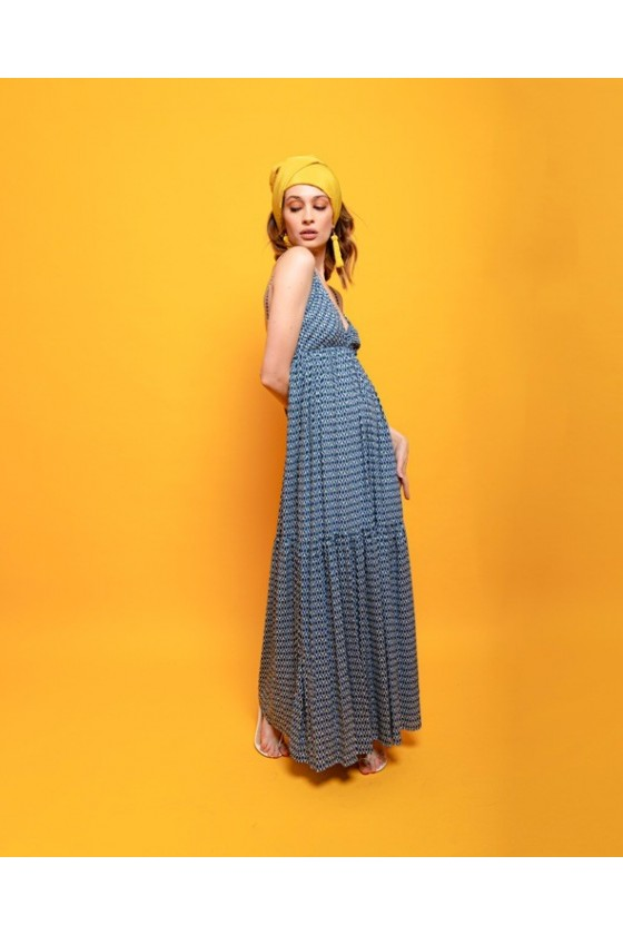Long viscose dress with back hanging feathers