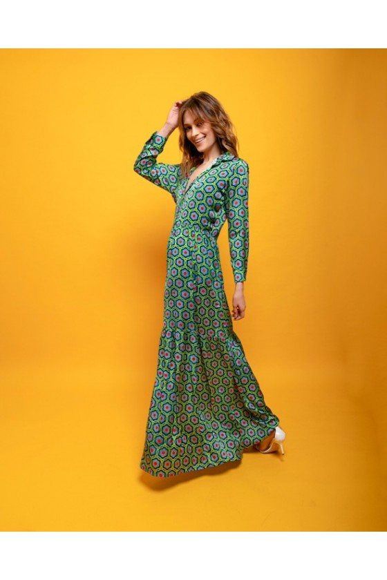 Long sleeve polyster dress