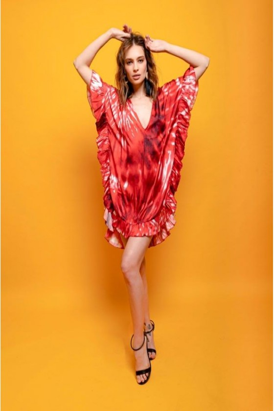 Short ruffled satin kaftan...