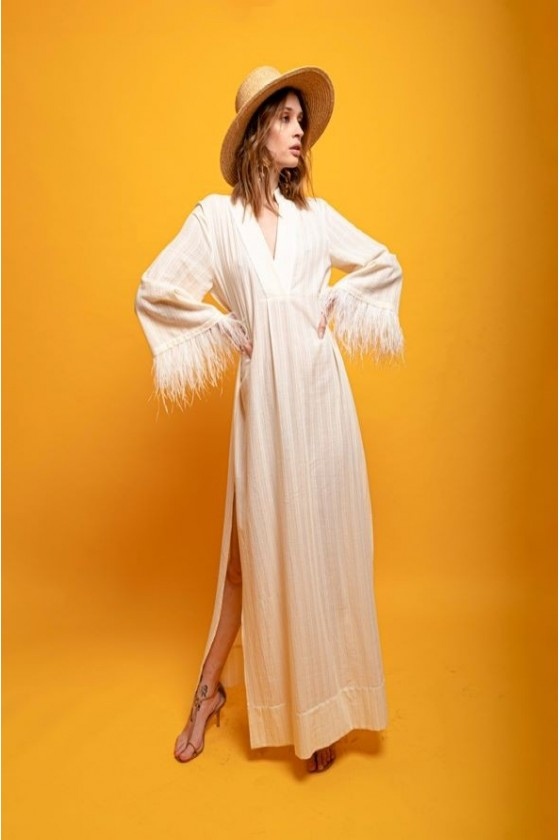 V kaftan cotton with feather sleeves