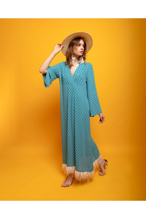 V polyester dress with feather hanging bottom