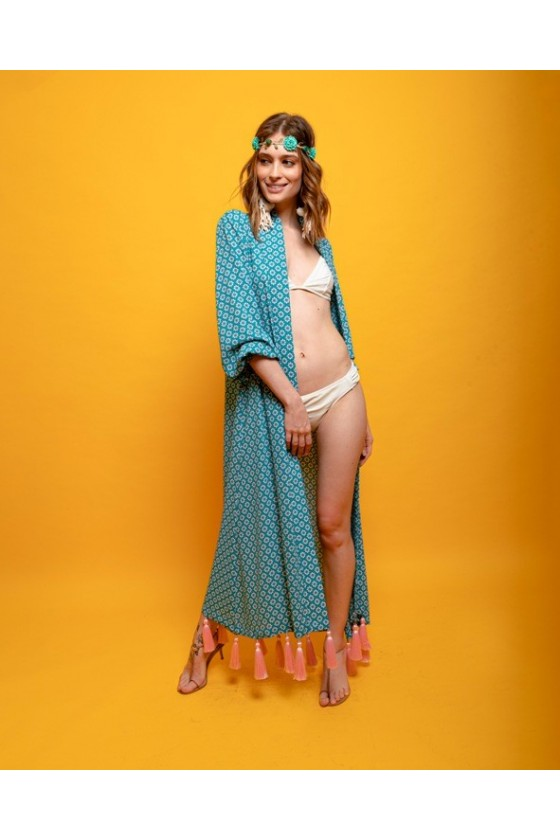 Open polyester robe with hanging tassel bottom