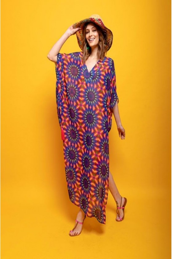 V kaftan chiffon short side...