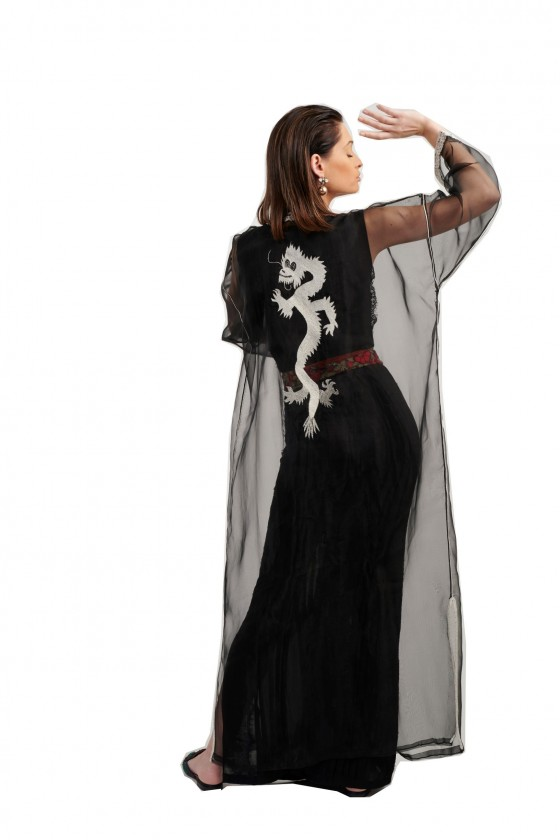 Long sleeves long black moroccan organza kaftan with embroidery and belt