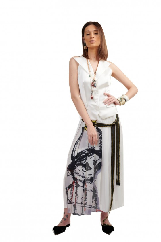 Pleated Printed long skirt...