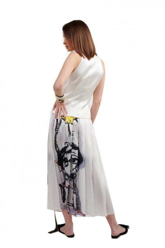 Pleated Printed long skirt with belt